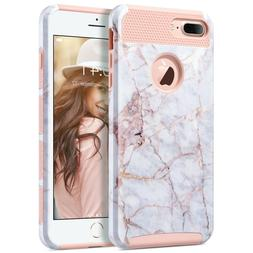 ULAK 2 in 1  Cover Shockproof Marble Case for Apple iPhone 7
