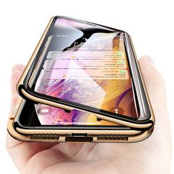 360° Magnetic Adsorption Phone Case Glass Cover For iPhone