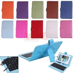 7 inch Leather Folding Case with Micro USB/USB-C Keyboard fo