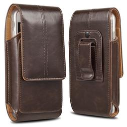 Business Men Vertical Leather Cell Phone Pouch Case Holster