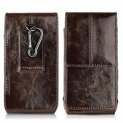 Vertical Leather Pouch Holster Sleeve Rotate Belt Clip Case