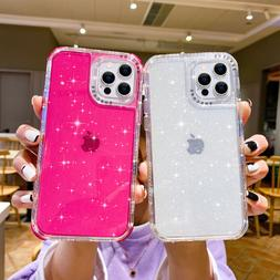 Bling Glitter Clear Shockproof Case Cover For iPhone 12 11 P