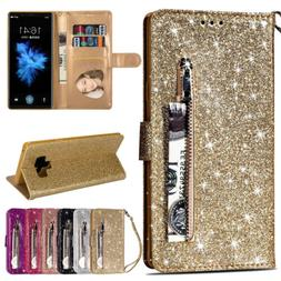 Bling Leather Flip Wallet Stand Case Cover For Samsung Galax