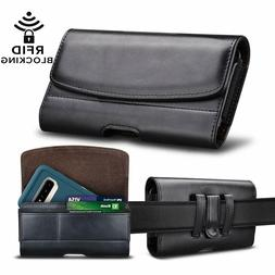 Cell Phone Holster Leather Belt Clip Pouch RFID Wallet Carry