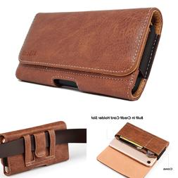 Cell Phone Pouch Carrying Case Leather Sleeve Wallet Card Sl