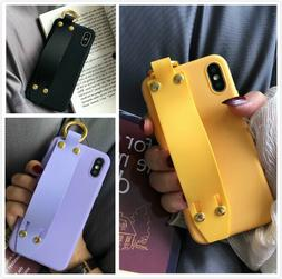 Cute Solid Strap Protective Phone Case Covers For iPhone Xs