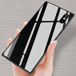 Fashion Square Tempered Glass Phone Case Cover For iPhone XS