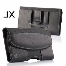 for XL Samsung Phones - BLACK Suede Leather Pouch Belt Clip
