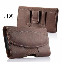 for XL Samsung Phones - BROWN Suede Leather Pouch Belt Clip