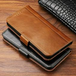 Genuine Leather Flip Wallet Card Holder Case Cover For iPhon