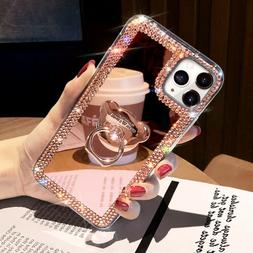For iPhone 12 Pro Max 11 XS XR 6 7 8 Glitter Bling  Mirror D