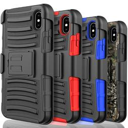 For iPhone XS Max XR X 8 7 6 6S Plus Belt Case + Tempered Gl