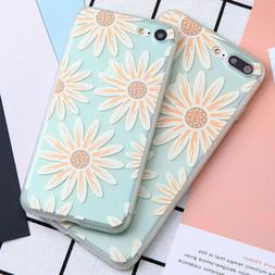 For iPhone 7 8 Case Silicone Soft TPU Flower Relief iPhone 7