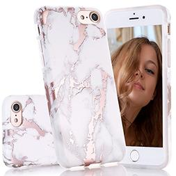 BAISRKE Shiny Rose Gold White Marble Design Clear Bumper Mat
