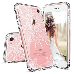 MOSNOVO iPhone 7 Case, iPhone 7 Clear Case, White Henna Mand