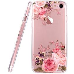 JAHOLAN Cute Girl Floral Design Clear TPU Soft Slim Flexible