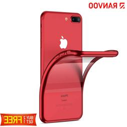 For iPhone 7 Plus 8 Plus Red Case Crystal Clear Slim Fit Sof