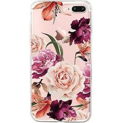 iPhone 7 Plus&8 Plus Case,Floral Pattern Clear TPU Case for