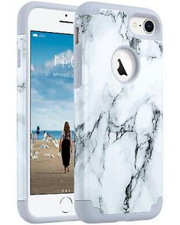 ULAK iPhone 8 iPhone 7 Marble Case Slim Dual Layer Silicone