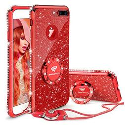 iPhone 8 Plus Case, iPhone 7 Plus Case, Glitter Cute Phone C