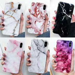 For Apple iPhone Marble Case Shockproof Soft TPU Bling Prote