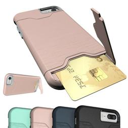 For iPhone 7 8 6S Plus X XR Card Pocket Shockproof Slim Rugg