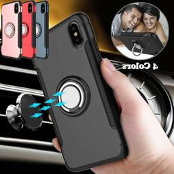 For iPhone X 8 7 Plus Case Shockproof Car Magnetic Ring Ultr