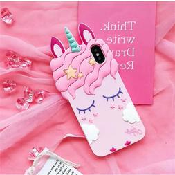 Pink Girly Unicorn Cute Phone Case Protective Silicone Gel C