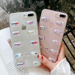 TPU 3D Pill Capsule Soft Phone Case Cover For iPhone XS MAX