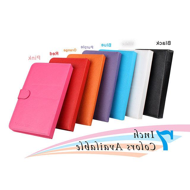 "For 7"" Inch Tablet PC Synthetic Leather Cover Case Stand Wit"