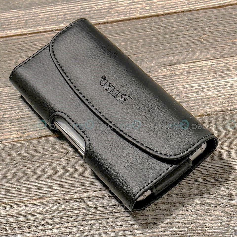 BLACK LEATHER CELL PHONE CASE CLIP BELT COVER