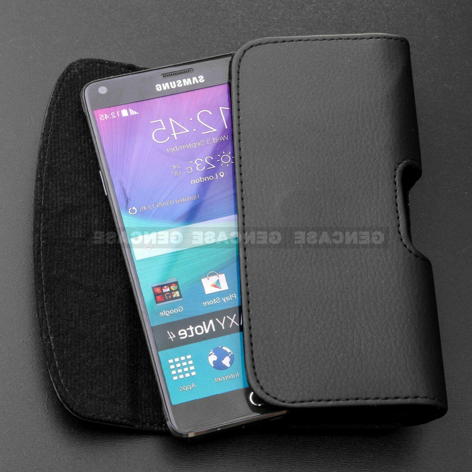 BLACK LEATHER PHONE CASE POUCH HOLSTER CLIP BELT LOOP COVER