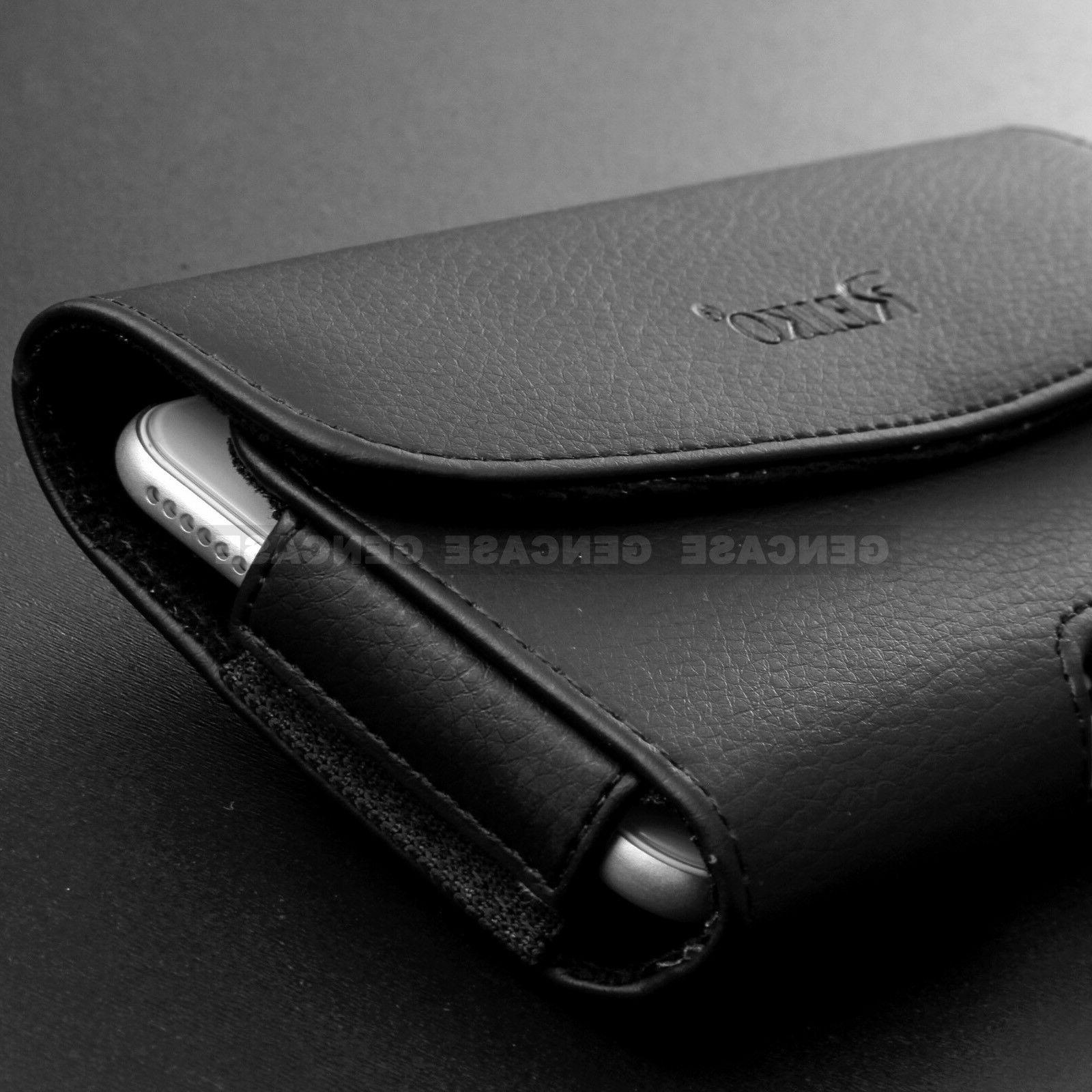 BLACK LEATHER RUGGED PHONE HOLSTER CLIP COVER