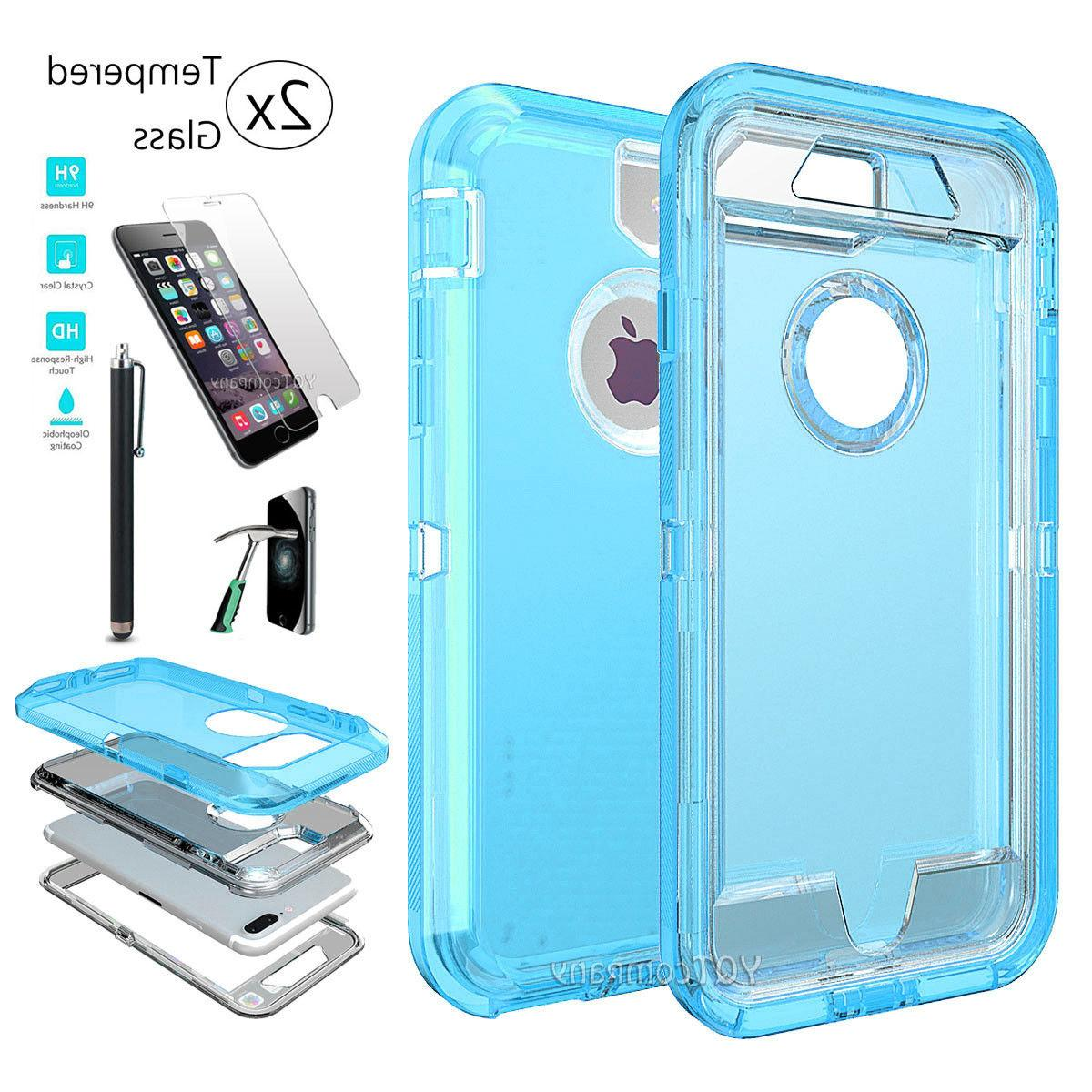 For X XS 6s Plus Case Shockproof Hybrid Rubber Clear