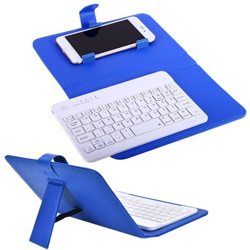 Bluetooth Mobile Phone <font><b>Keyboard</b></font> with PU Leather Mini Wireless IOS Android 8 X Russian