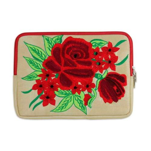embroidered tablet sleeve padded lined case red