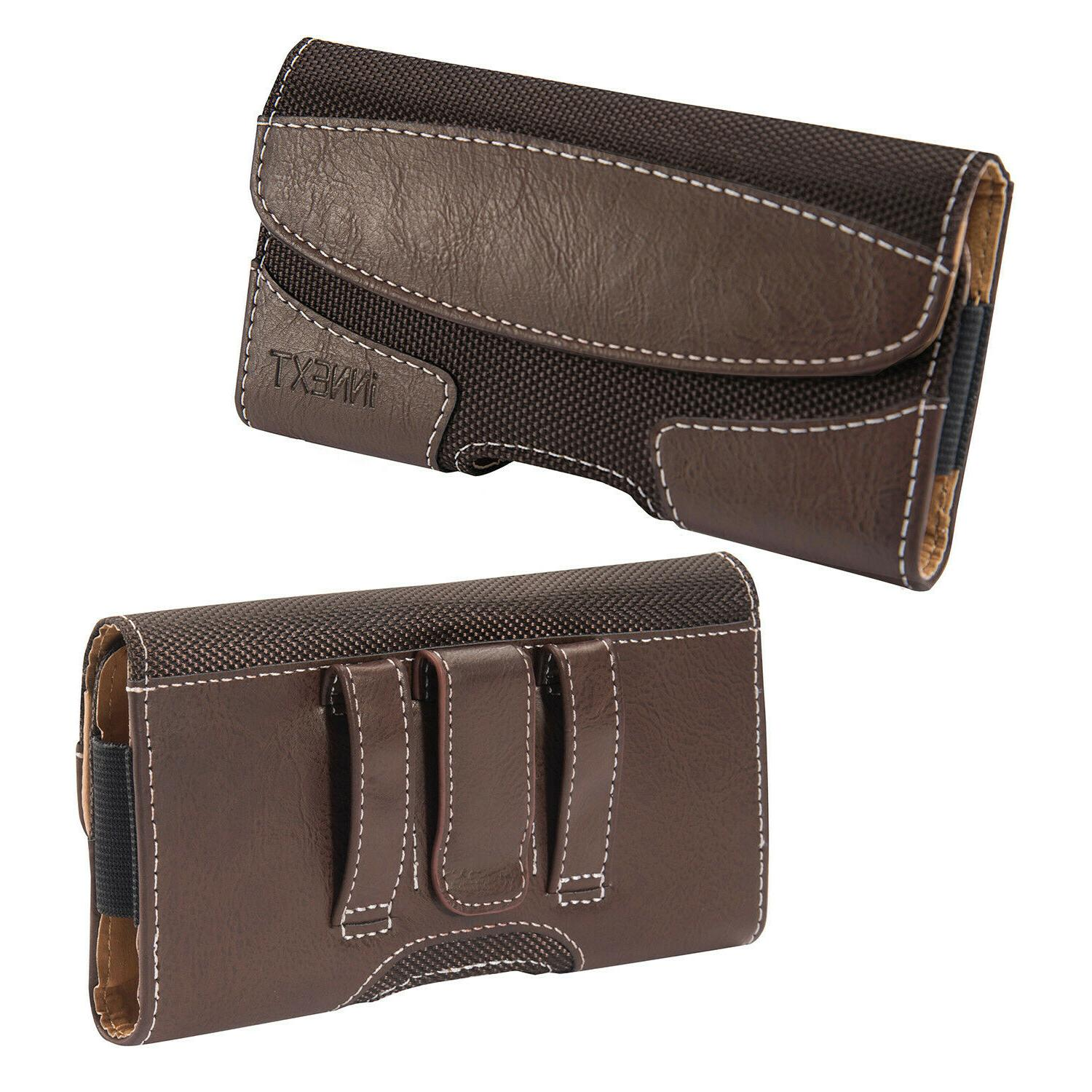 Horizontal Leather Cell Pouch Cover Carrying Belt Clip