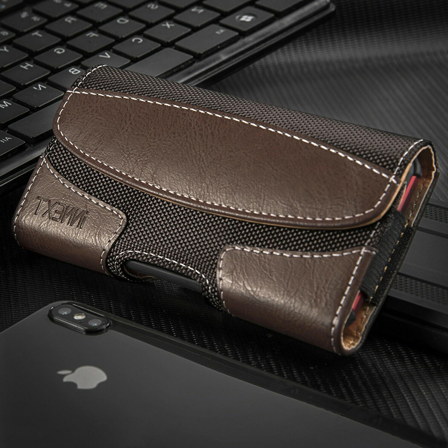 Horizontal Leather Pouch Carrying Belt
