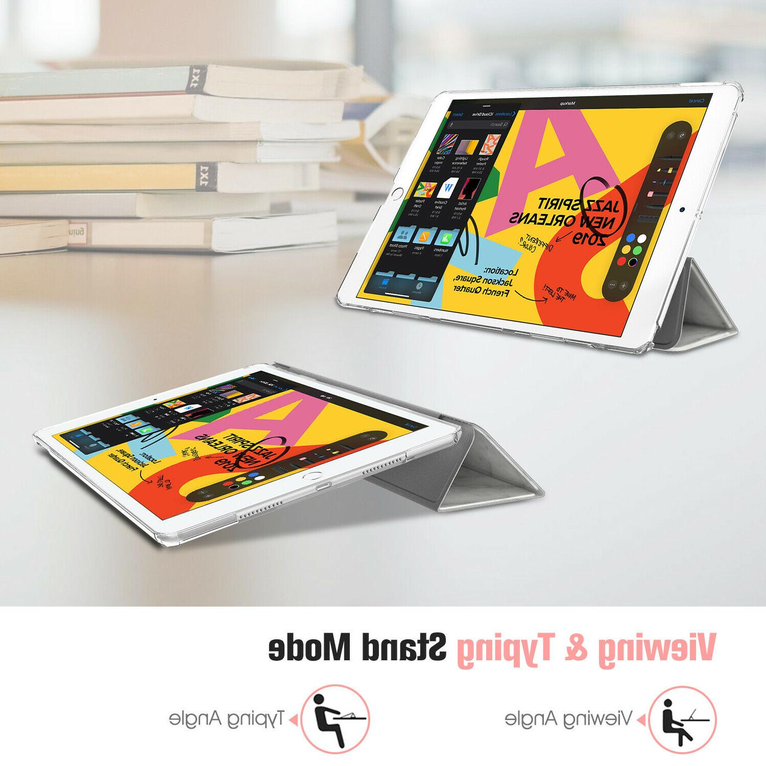 For iPad 7th Gen Tablet Case SlimShell Frosted Back Cover