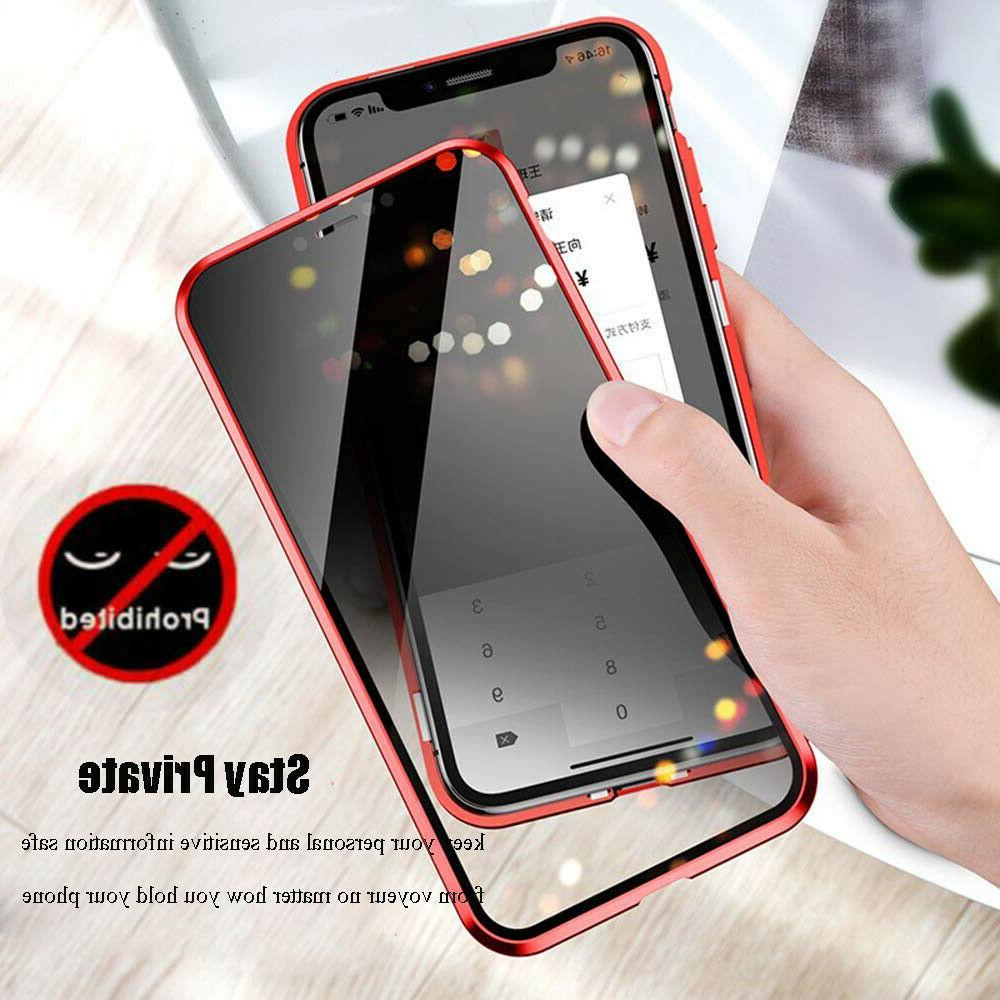 For iPhone 12 MAX 8 Protective Magnetic Anti Spy Case