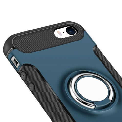 For iPhone 5 7 Plus Cover 360° Finger Stand Holder