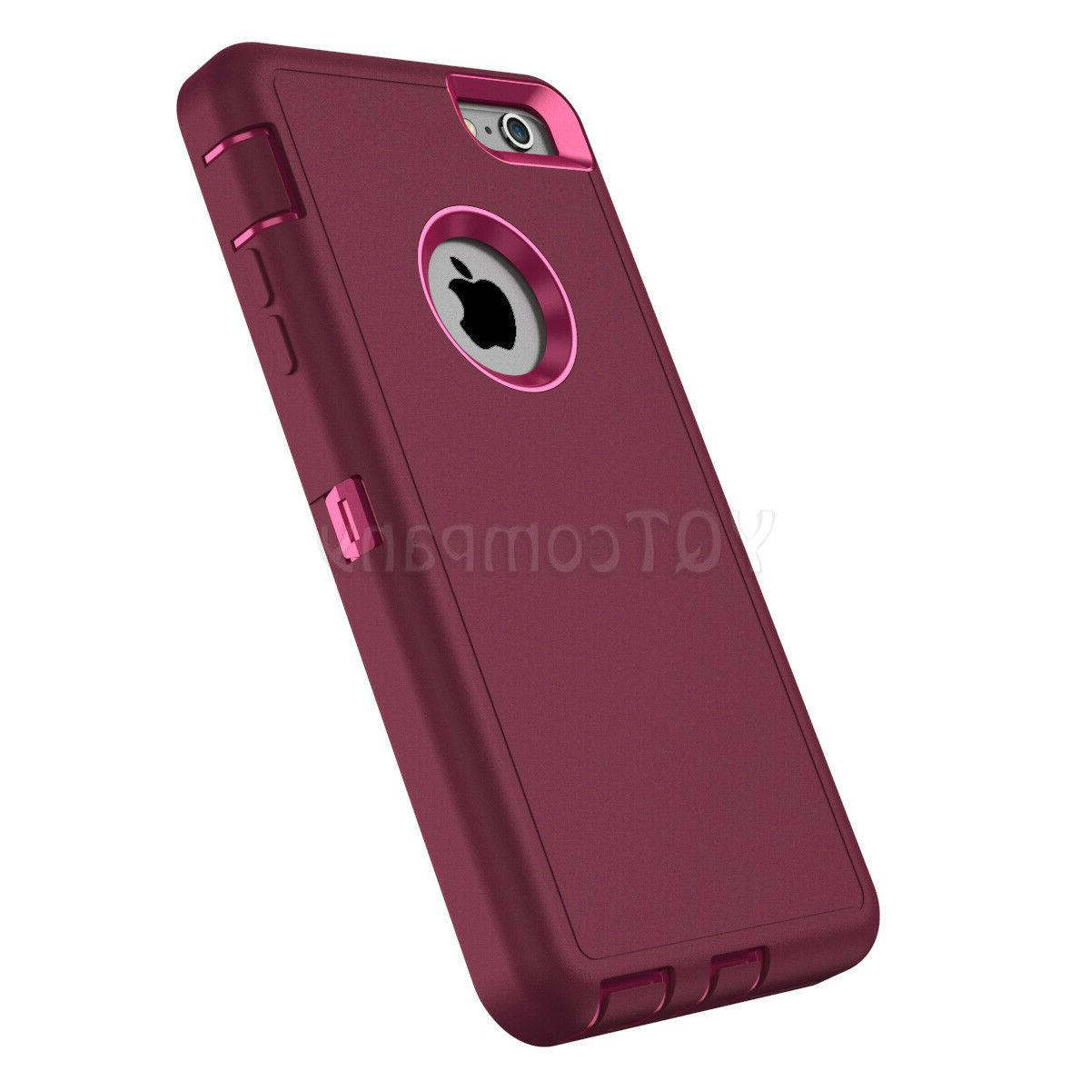 For 6 6S 7 Plus XS XR Case Hybrid Heavy Duty Shockproof Rubber Cover