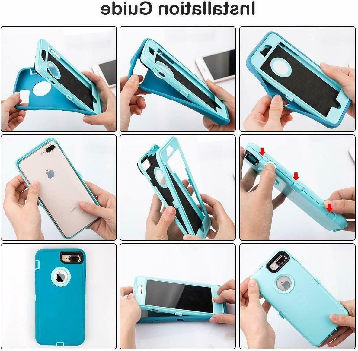 For iPhone 8 Plus Duty Shockproof Cover Belt Clip &