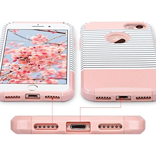 ULAK iPhone Colorful Series Fit Hybrid Dual Layer Scratch Shock Absorbent Case Apple 7 inch, Rose Gold/Black Stripe