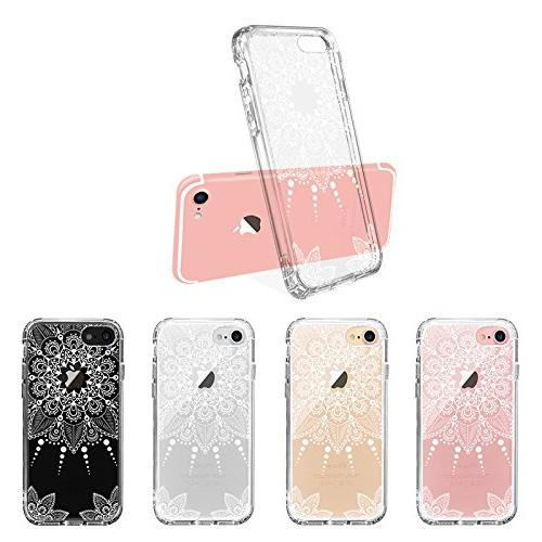 MOSNOVO iPhone Clear White Henna Lace Design Printed Transparent Hard Case Case for iPhone 7