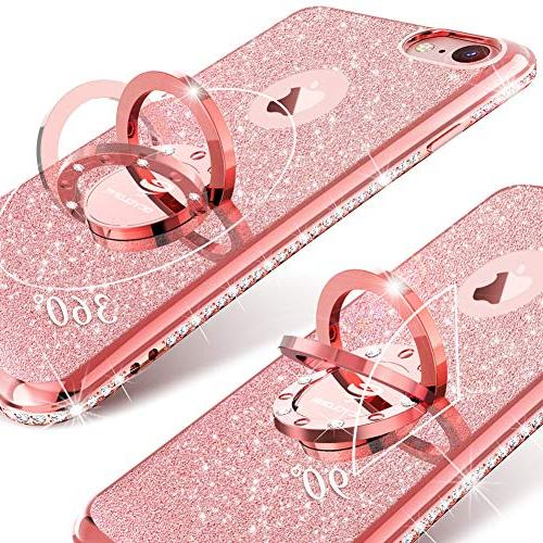 iPhone Girl Girly Diamond Rhinestone Bumper with Kickstand Phone Case iPhone 8 / -