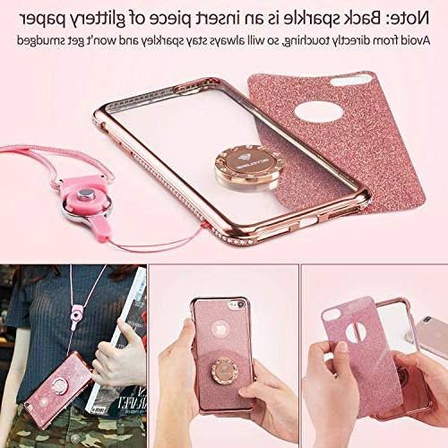 OCYCLONE iPhone Case, iPhone Girl Women, Glitter Girly with Ring Protective Phone 8 7 - Rose