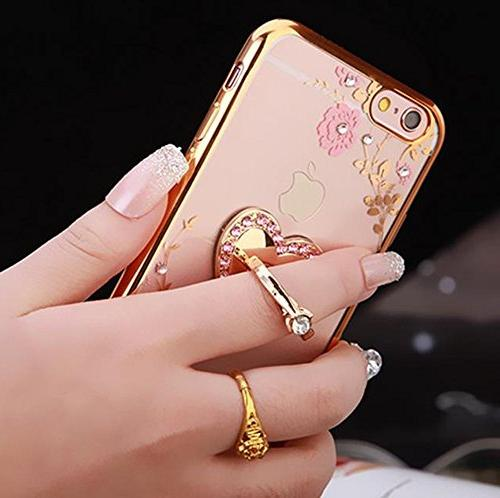 iPhone Crystal Case-Lozeguyc Slim Bling Rubber Rhinestone Diamond 360 Ring Gold and