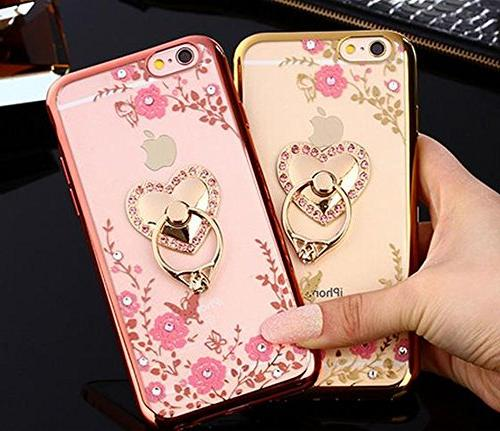 Crystal TPU Slim Bling Cover for iPhone 7 Plus 5.5 Inch Rhinestone Diamond and Detachable 360 Ring and