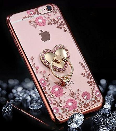 iPhone 7 Plus Crystal Soft Slim Rubber Cover for iPhone 360 Ring Gold